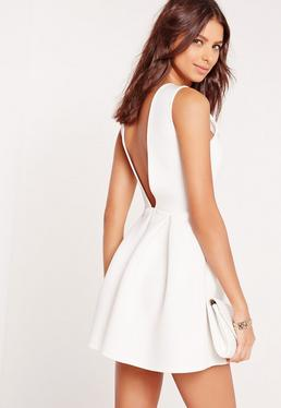 Low Back Bonded Scuba Skater Dress White