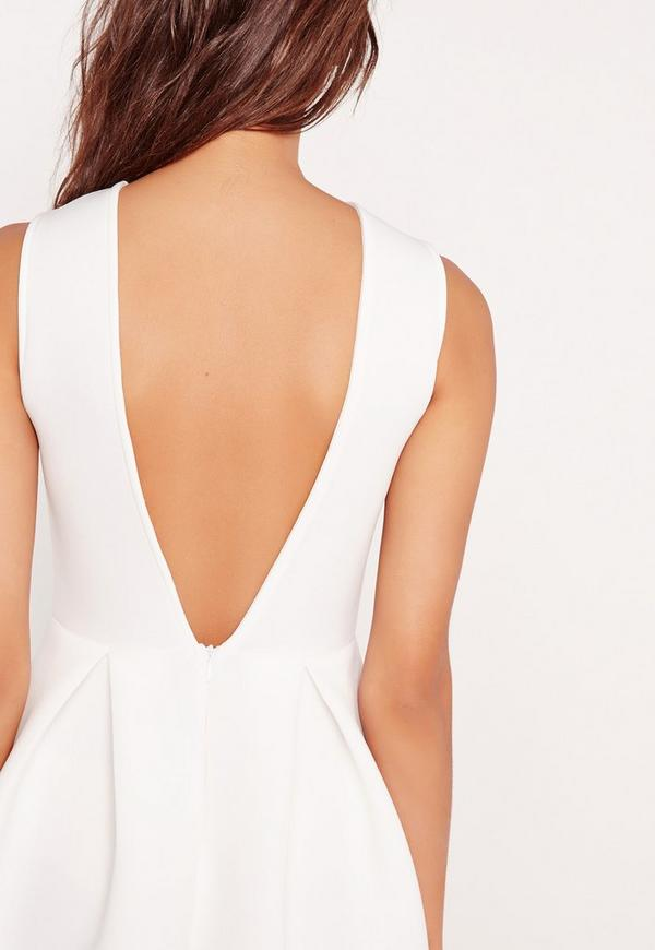 Robe patineuse blanche dos chancr missguided - Robe dos echancre ...