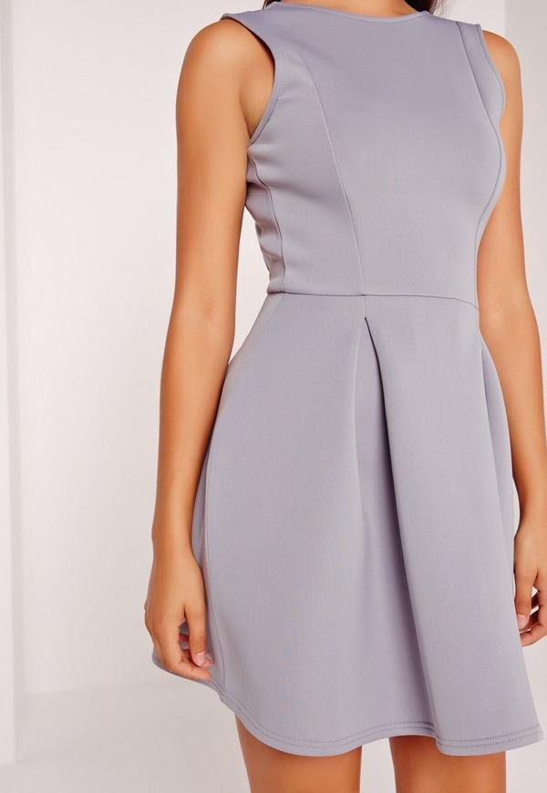 Robe patineuse grise dos chancr missguided - Robe dos echancre ...