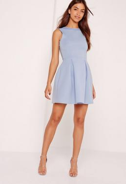 Scuba Low Back Skater Dress Powder Blue