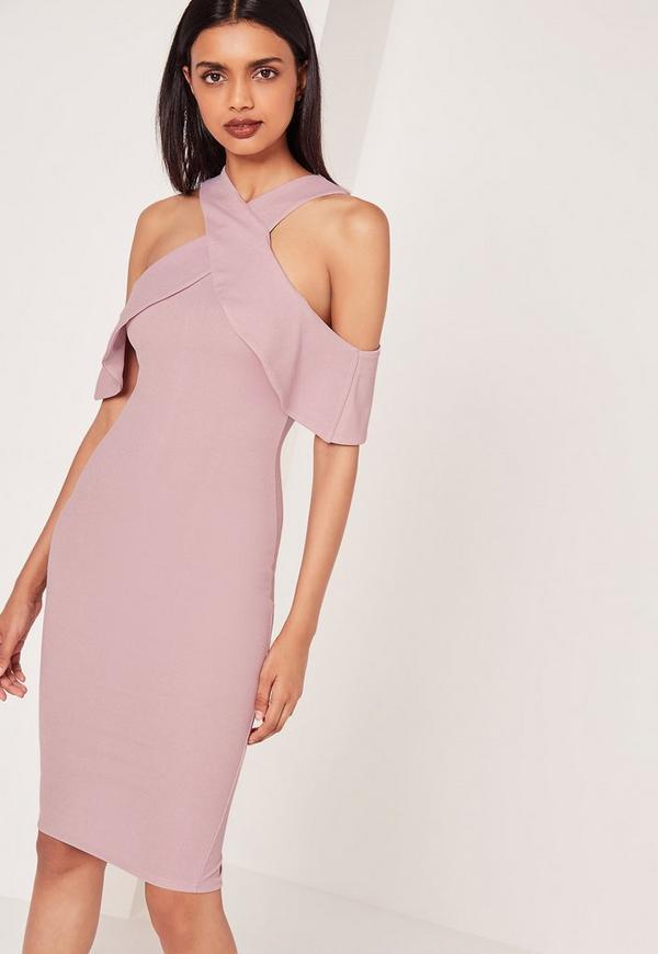 Cold Shoulder Layered Midi Dress Lilac