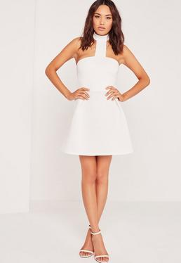 Choker Neck Bonded Scuba Skater Dress White