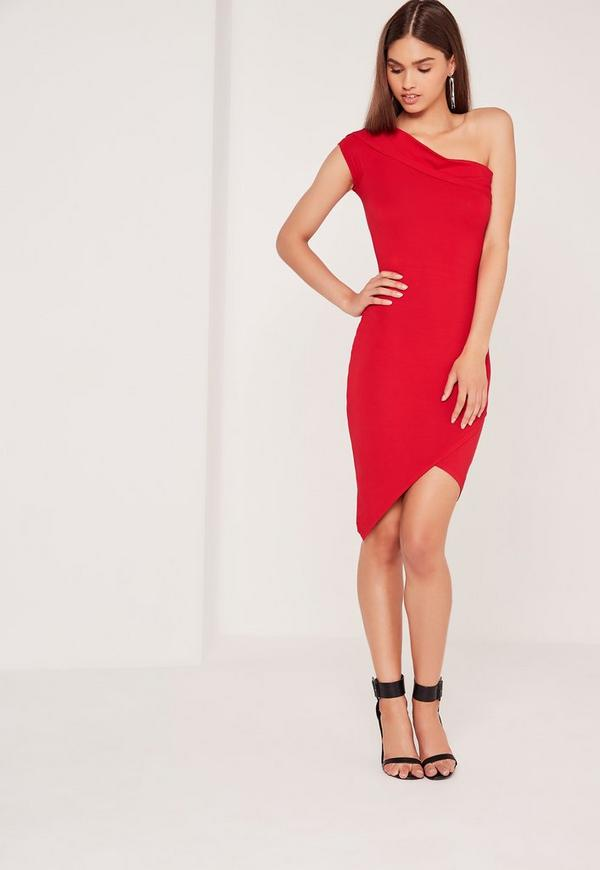 Asymmetric Wrap Bodycon Dress Red
