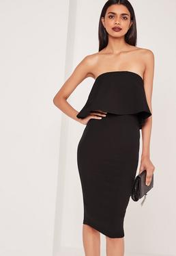 Frill Bandeau Midi Dress Black