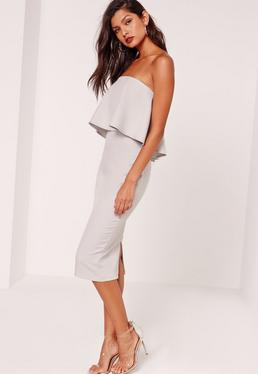 Frill Bandeau Midi Dress Grey