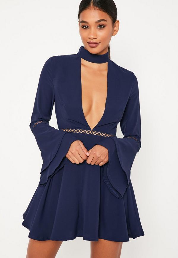Navy Flare Sleeve Ladder Trim Choker Skater Dress