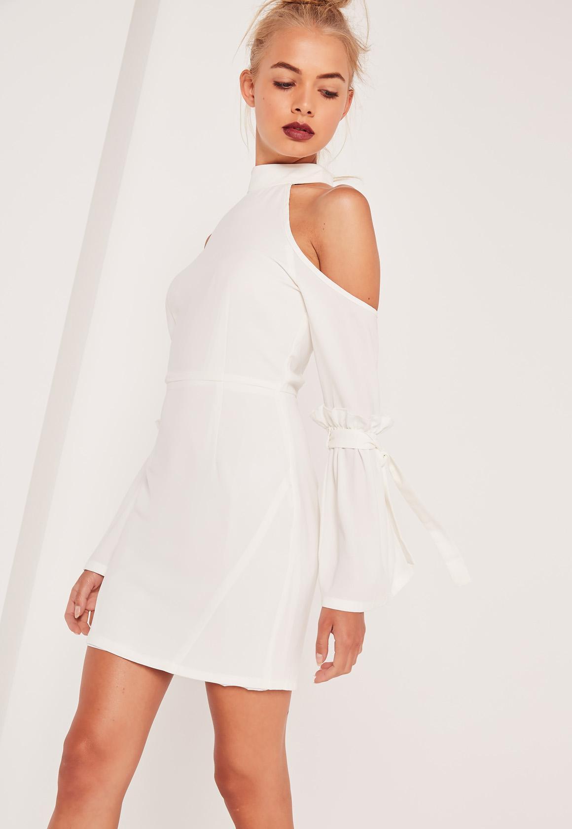 Frill Cuff Cold Shoulder Bodycon Dress White