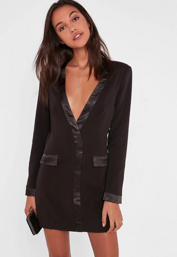 Black Satin Contrast Blazer Dress