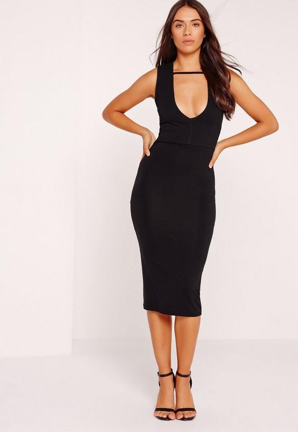 Extreme Plunge Midi Band Dress Black