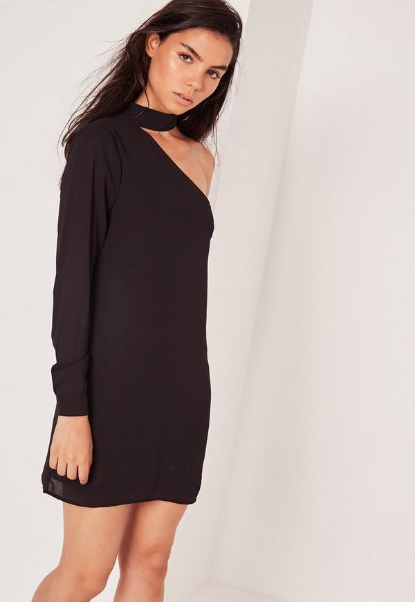 Choker Neck Asymmetric Shift Dress Black