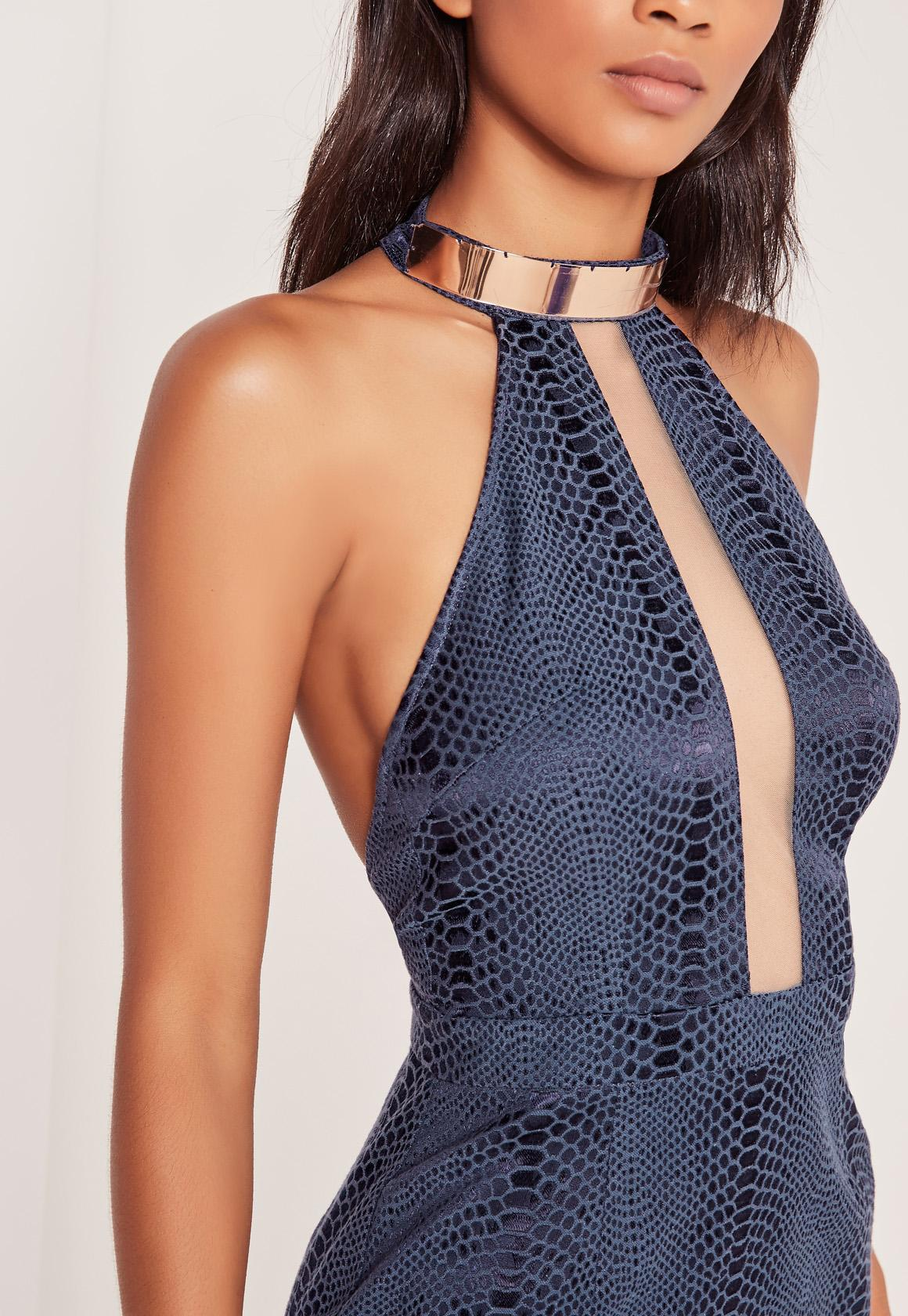 Gold Necklace Snake Textured Midi Dress Blue