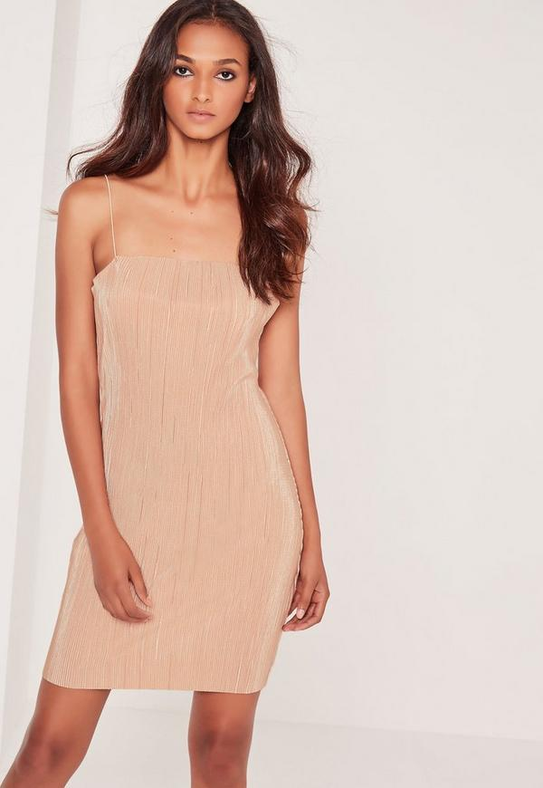 Strappy Pleated Bodycon Dress Nude