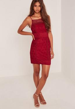 Lace Square Neck Midi Dress Burgundy