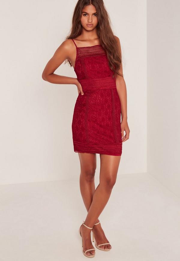 Lace Square Neck Midi Dress Burgundy