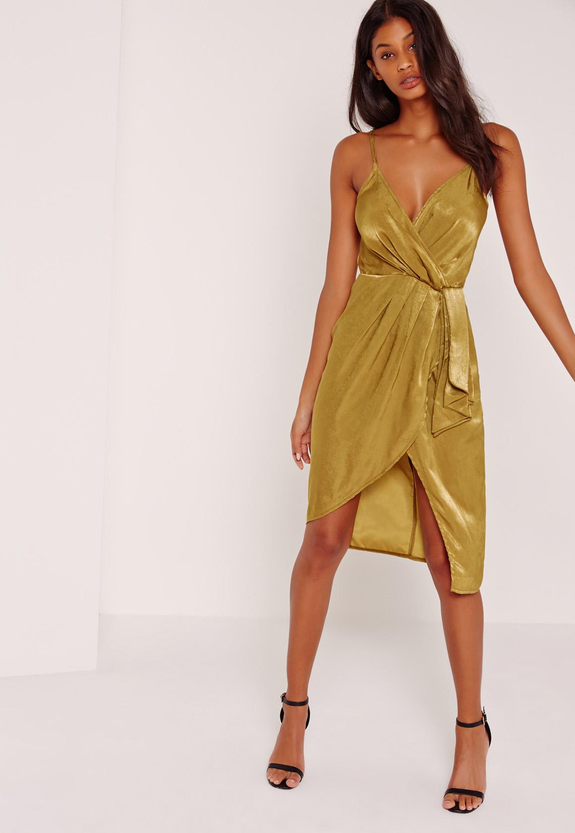 Silky Strappy Wrap Over Midi Dress Yellow