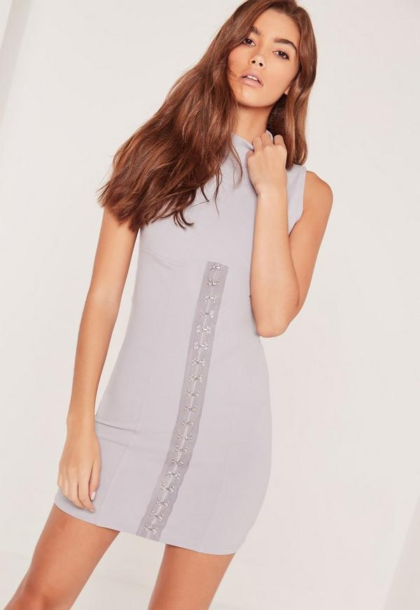 Sleeveless Corset Front Bodycon Dress Grey