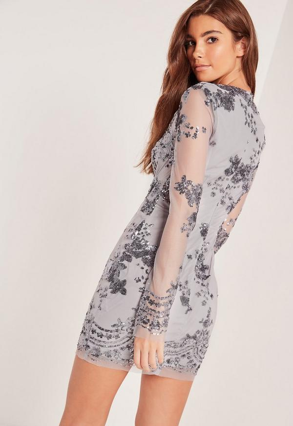 Long Sleeve Sequin Bodycon Dress Grey | Missguided