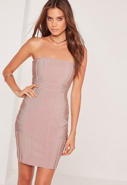Premium-Bandage-Bandeau-Kleid in Pink