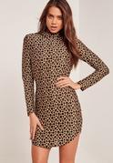 High Neck Long Sleeve Leopard Print Bodycon Dress
