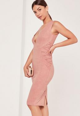 Faux Suede Sleeveless Midi Dress Pink