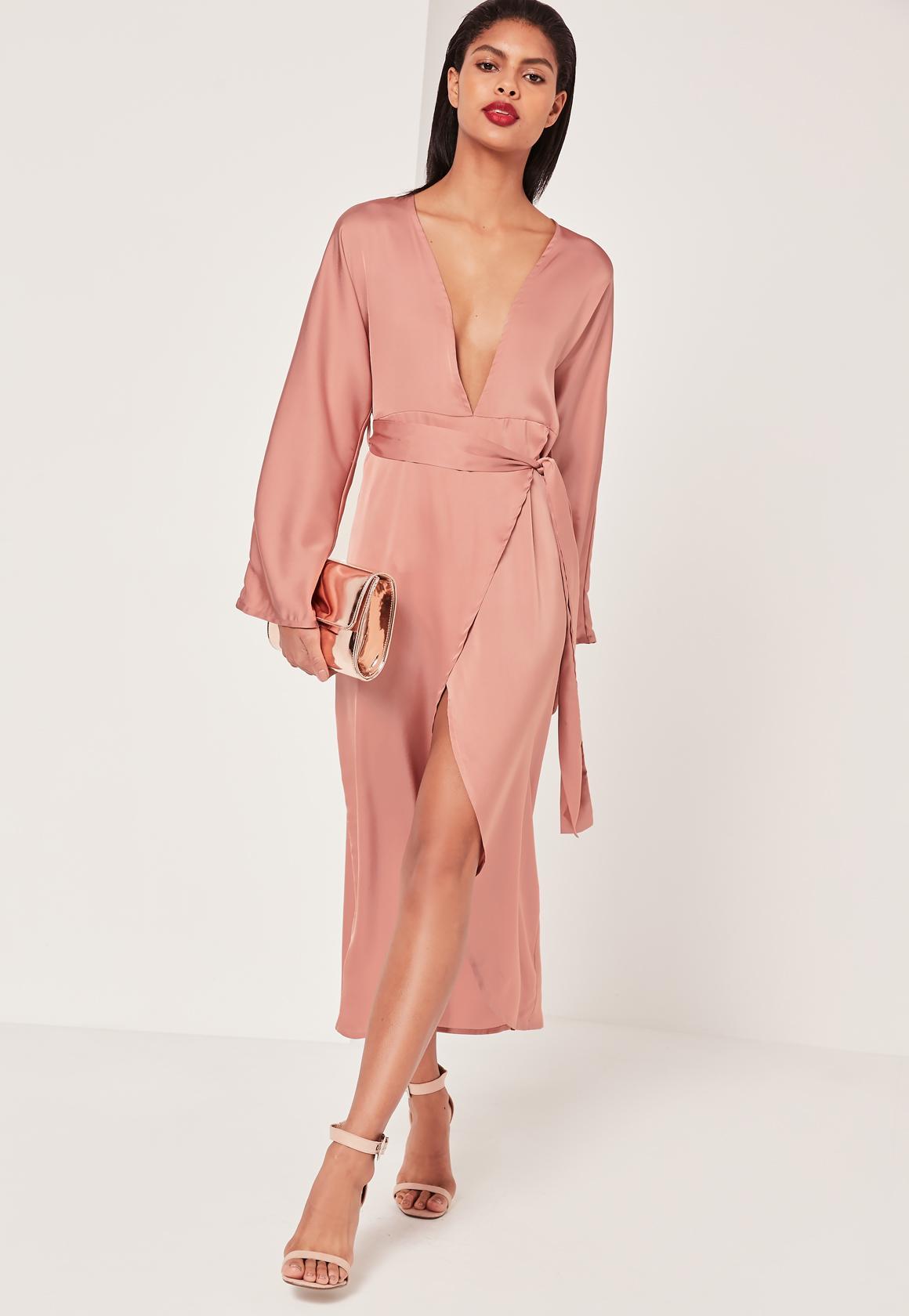 Silky Kimono Maxi Dress Pink | Missguided