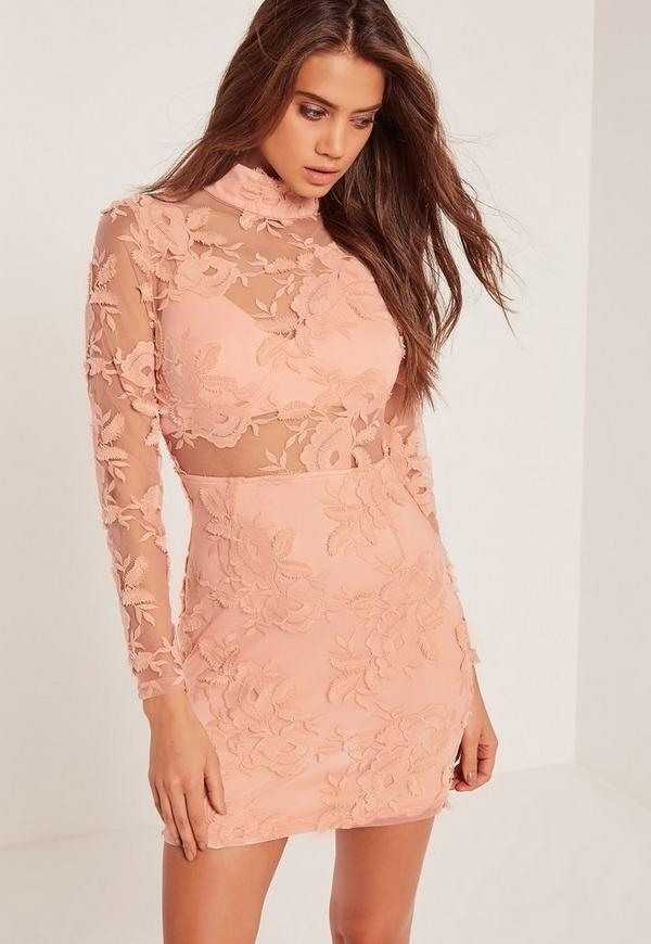 High Neck Embroidered Lace Bodycon Dress Pink