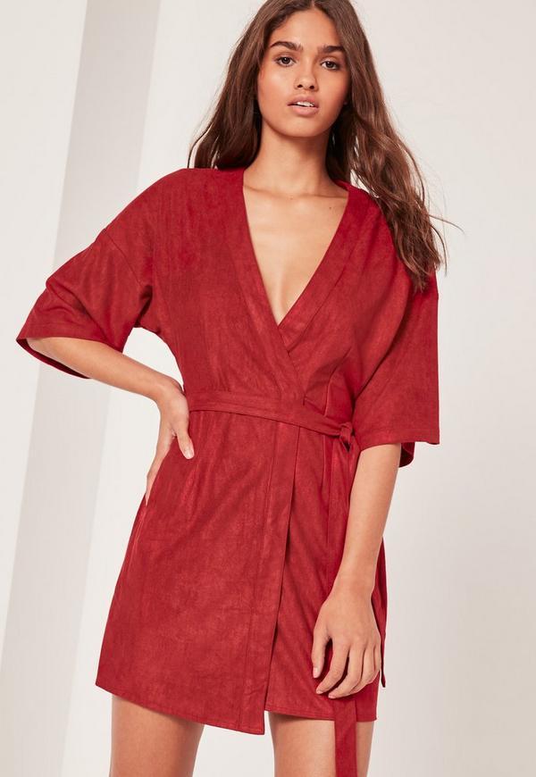 Faux Suede Kimono Dress Red