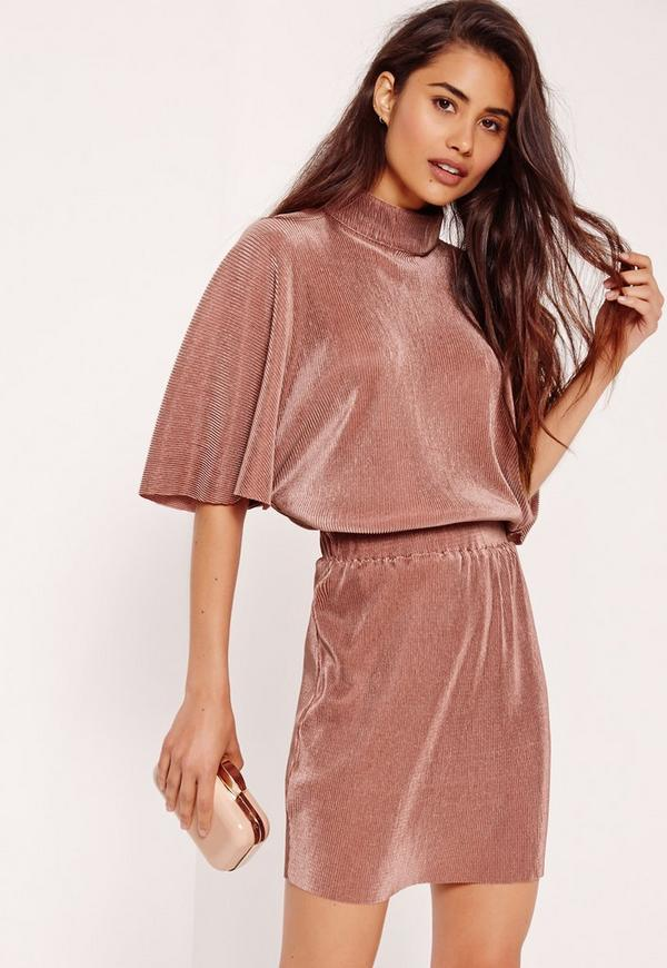 Pleated Kimono Bodycon Dress Brown