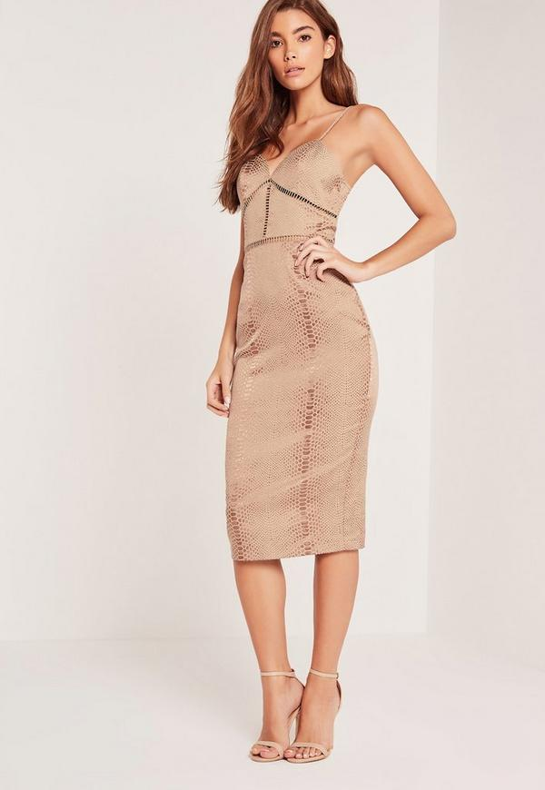 Snake Textured Midi Dress Brown
