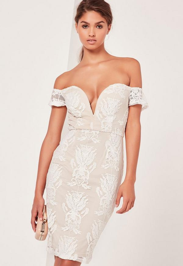 Bardot Lace Midi Dress White