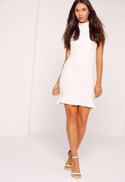 Fishtail Hem Halterneck Bodycon Dress White