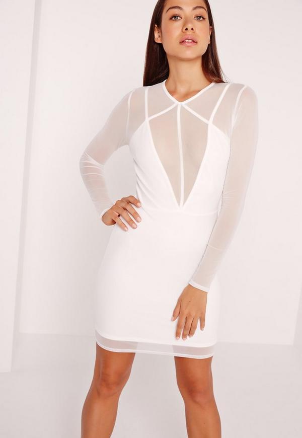 Long Sleeve Mesh Overlay Harness Dress White