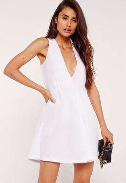 Plunge Airtex Skater Dress White