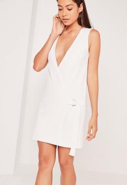 Sleeveless Wrap Tux Dress White