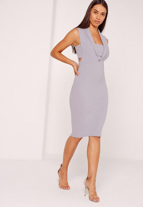 Collared Plunge Bandeau Insert Midi Dress Ice Grey