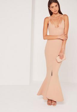 Split Front Strappy Fishtail Maxi Dress Nude