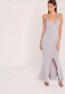 Split Front Strappy Fishtail Maxi Dress Grey