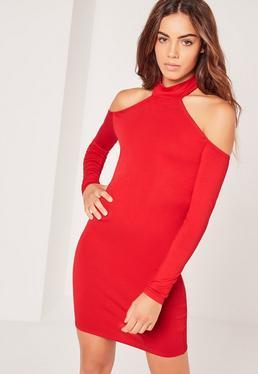 Jersey Long Sleeve Choker Neck Mini Dress Red