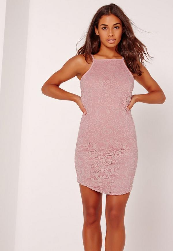 Racer Lace Mini Dress Pink