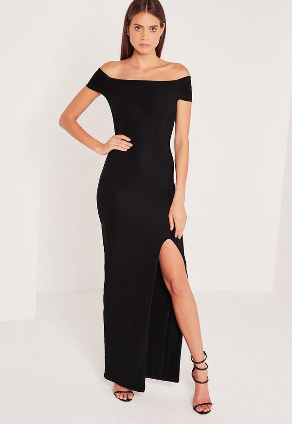 Slinky Bardot Maxi Dress Black