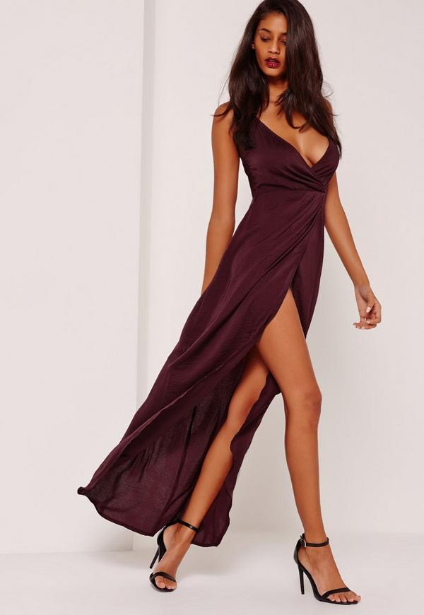 Silky Strappy Maxi Dress Purple Missguided