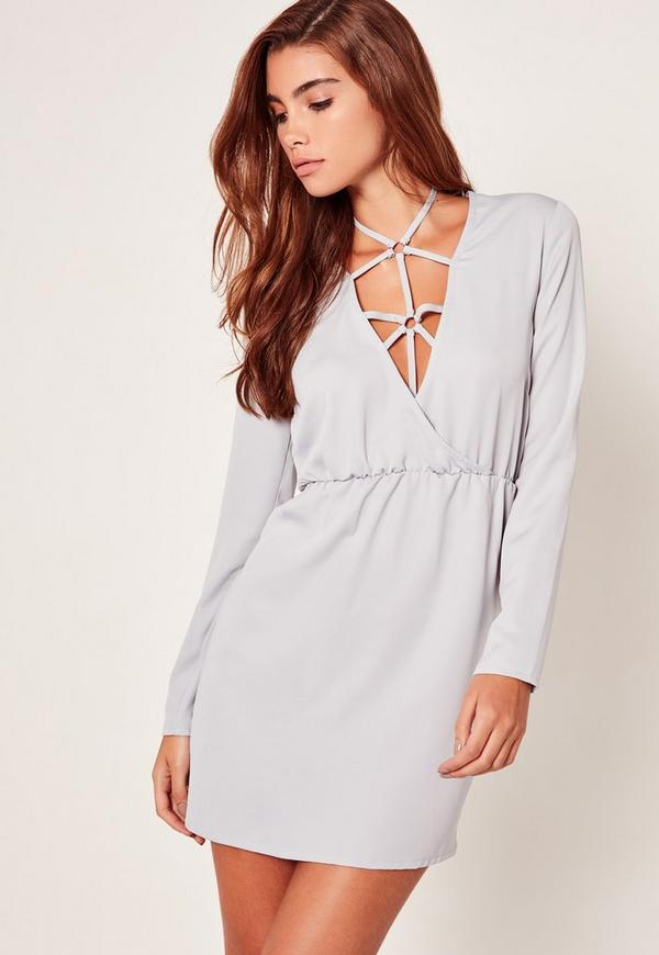 Silky Harness Detail Shift Dress Lilac