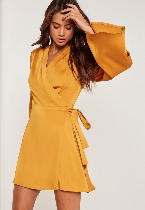 Silky Kimono Sleeve Swing Dress Yellow
