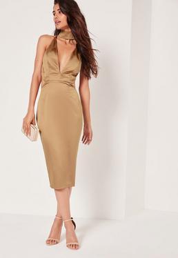 Silky Choker Detail Cut Out Midi Dress Gold