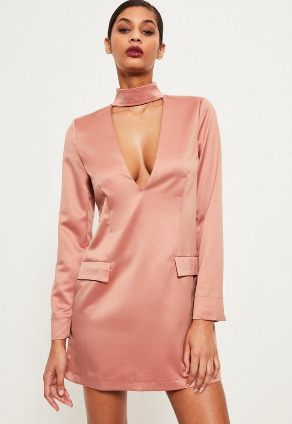 Silky Choker Neck Shift Dress Pink