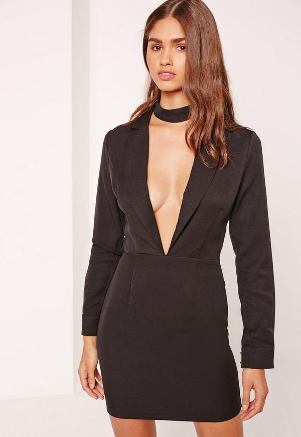 Plunge Long Sleeve Choker Neck Blazer Dress Black