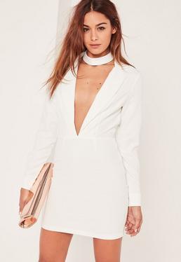 White Plunge Long Sleeve Choker Neck Blazer Dress