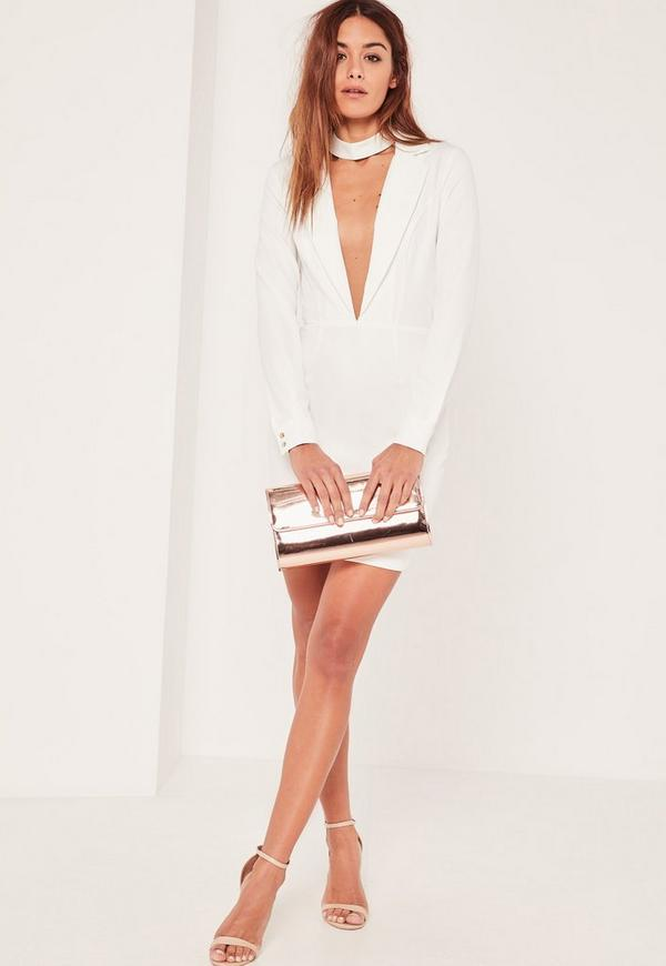 White Plunge Long Sleeve Choker Neck Blazer Dress | Missguided