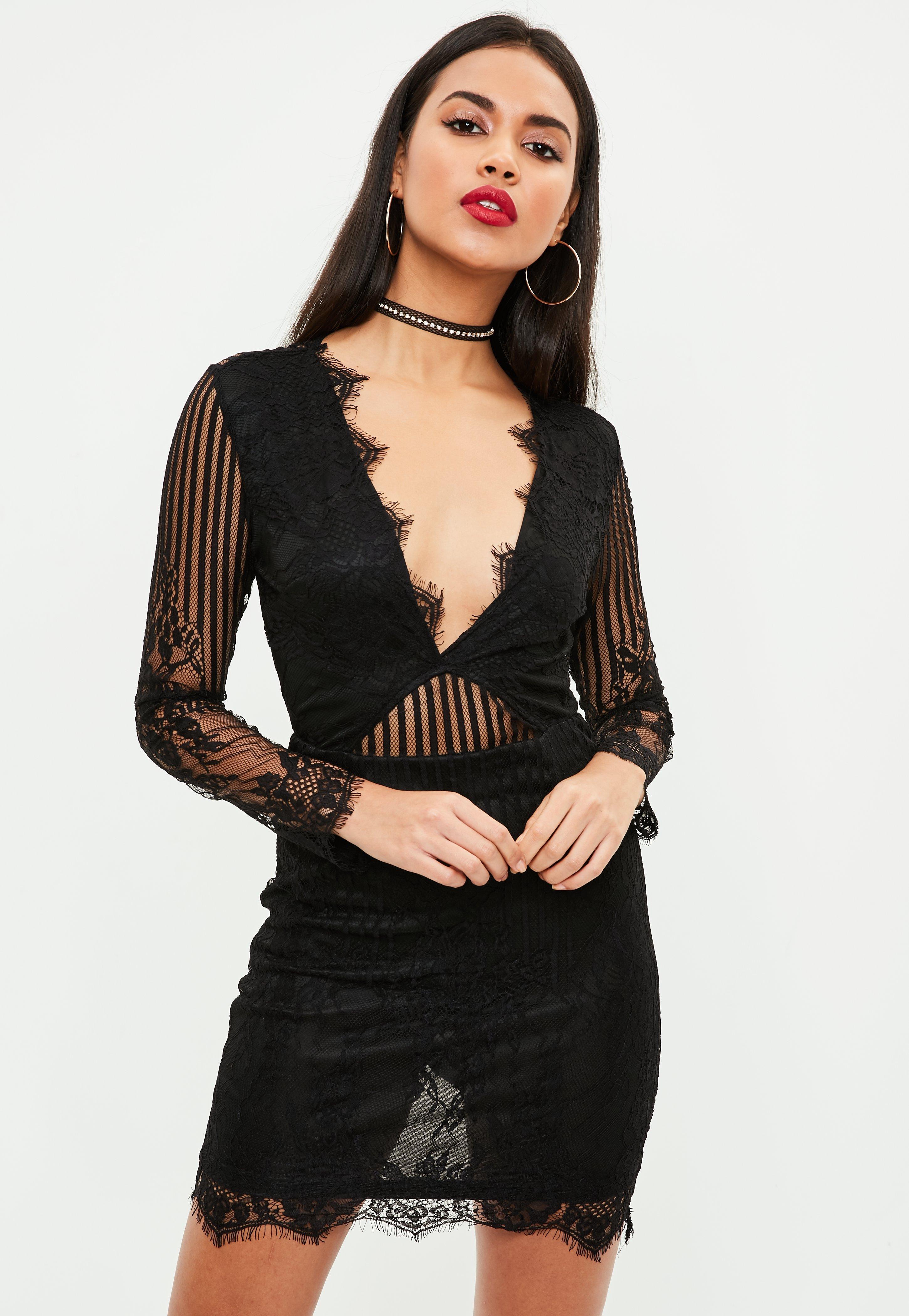 172babb60e Black Mesh midi Plunge Dress