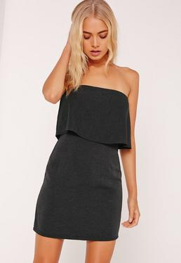 Pleated Bandeau Bodycon Dress Black